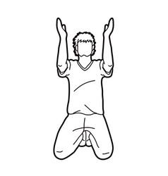 Prayer hands up christian praying vector