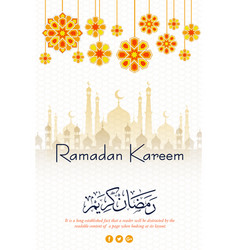 Ramadan kareem islamic poster design vector