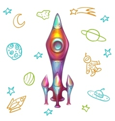 rocket with doodle icons vector image