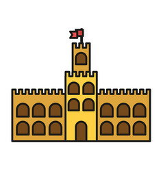 Sandcastle built on an island on vacation vector