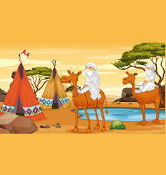 Scene with people riding on camels vector