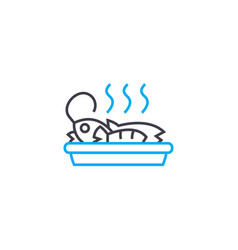 seafood dish linear icon concept seafood dish vector image