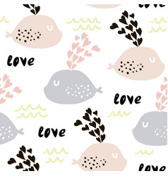 seamless pattern with cute whales and hearts cute vector image