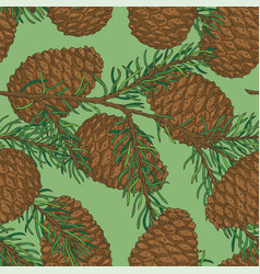 Seamless pattern with pine cone and fir branch vector