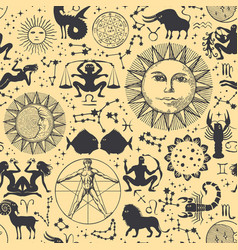 seamless pattern with sun moon zodiac signs vector image