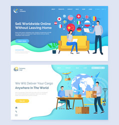 Sell worldwide without leaving home website set vector