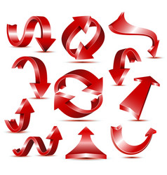 set 3d glossy red arrow icons for web design vector image