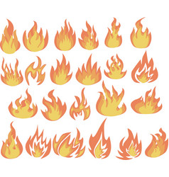 set flame icons fire icons and pictograms vector image