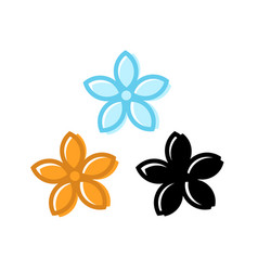 Set flower icons with five petals vector