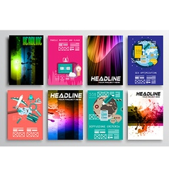 Set of Flyer Design Flat User Interface Brochure vector image