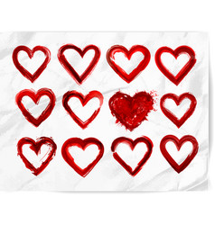 set red grunge hearts on realistic white paper vector image