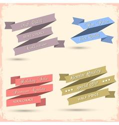 set vintage ribbons for design vector image