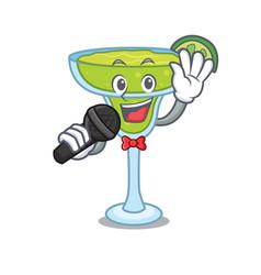 singing margarita mascot cartoon style vector image