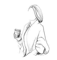 Sketching beautiful young woman with cup coffee vector