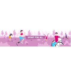 Sport for all horizontal banner vector