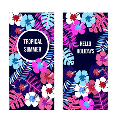 summer banners with tropical leaves and flowers vector image