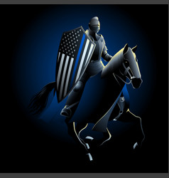 thin blue line knight vector image
