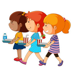 Three girls holding tray of food vector