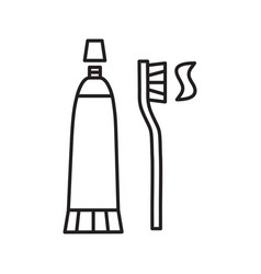 Toothbrush and toothpaste linear icon vector