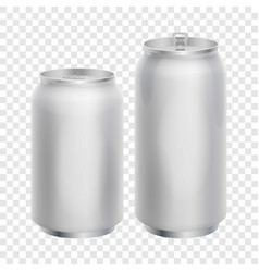 Two blank aluminum cans mockup realistic style vector