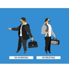 two images of a man vector image