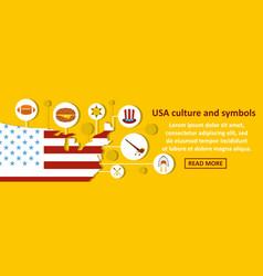 Usa culture and symbols banner horizontal concept vector