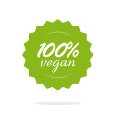 vegan 100 percent food label or badge icon vector image