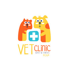 Vet clinic logo template original design colorful vector