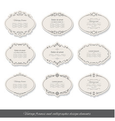 Vintage oval frames and labels set vector