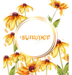 Yellow flowers watercolor card summer vector