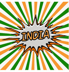 Banner flag india style pop art rays vector