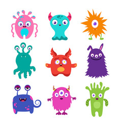 cute cartoon baby monsters collection vector image