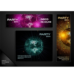 disco ball mosaic banners vector image vector image