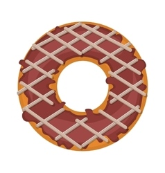 donut with striped glazed and chocolate vector image