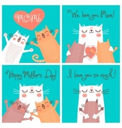 Sweet cards for Mothers Day with cats vector image vector image