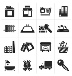 Black real estate and building icons vector