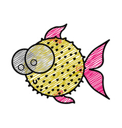 color pencil drawing of blowfish with big eyes vector image vector image