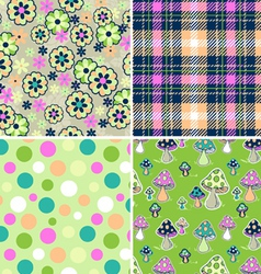 colorful seamless print set vector image vector image