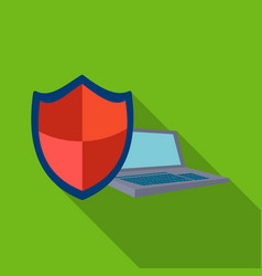 data security of laptop icon in flat style vector image vector image