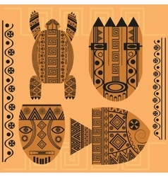 Set decorative mask fish turtle african vector image