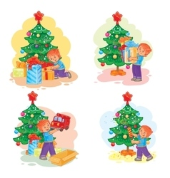 Set of icons little boy opening Christmas presents vector image