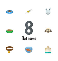 flat icon pets set of hound necklace bunny vector image