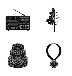 Radio cooking and or web icon in black style vector