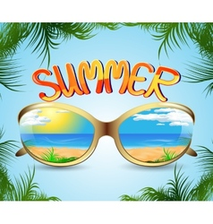 sunglasses with reflection of the summer vector image vector image
