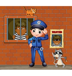 A policeman in front of a jail with two cats vector image vector image
