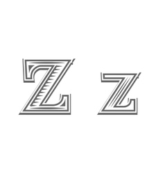 Font tattoo engraving letter Z vector image vector image