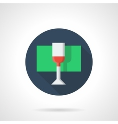 Glass with red wine round flat color icon vector image vector image