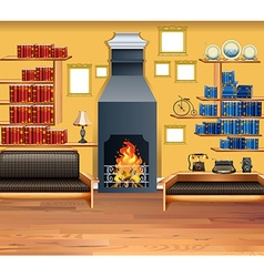 Living room with fireplace and bookshelves vector image