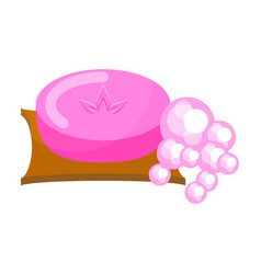 pink soap with foam bubbles vector image vector image