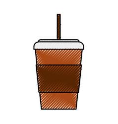 Scribble disposable coffee cup cartoon vector